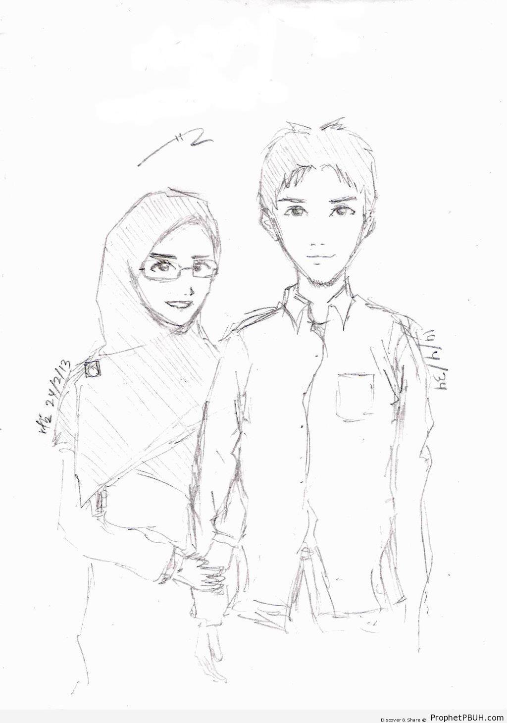 1024x1460 Pencil Drawing Muslim Girls Boy Proposing Muslim Girl Pencil