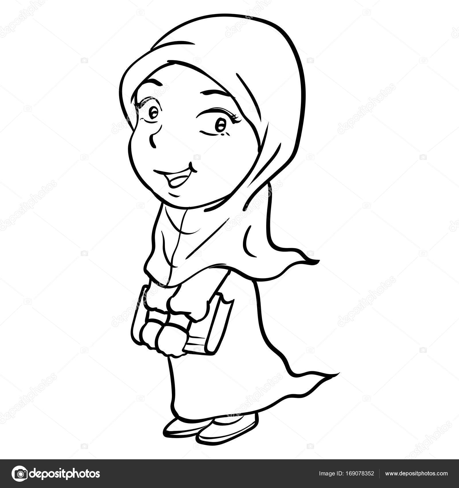 1600x1700 Cartoon Smiley Muslim Girl Holding Book Vector Drawn Stock