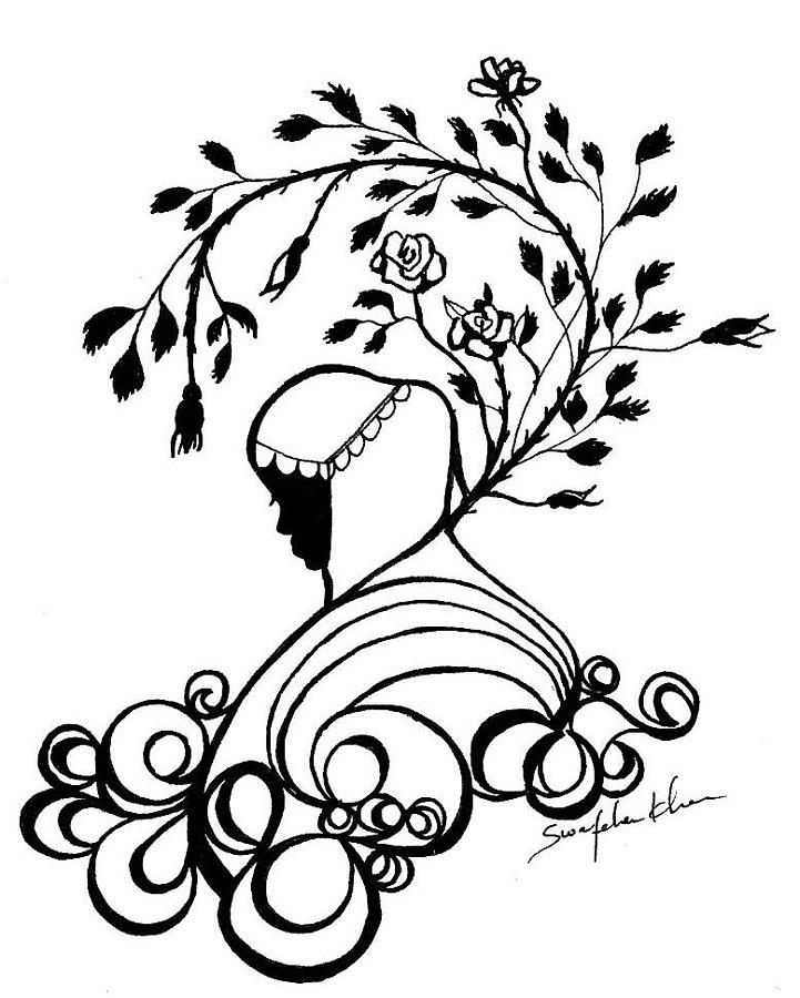 721x900 Rose Girl Drawing By Swafeha Khan