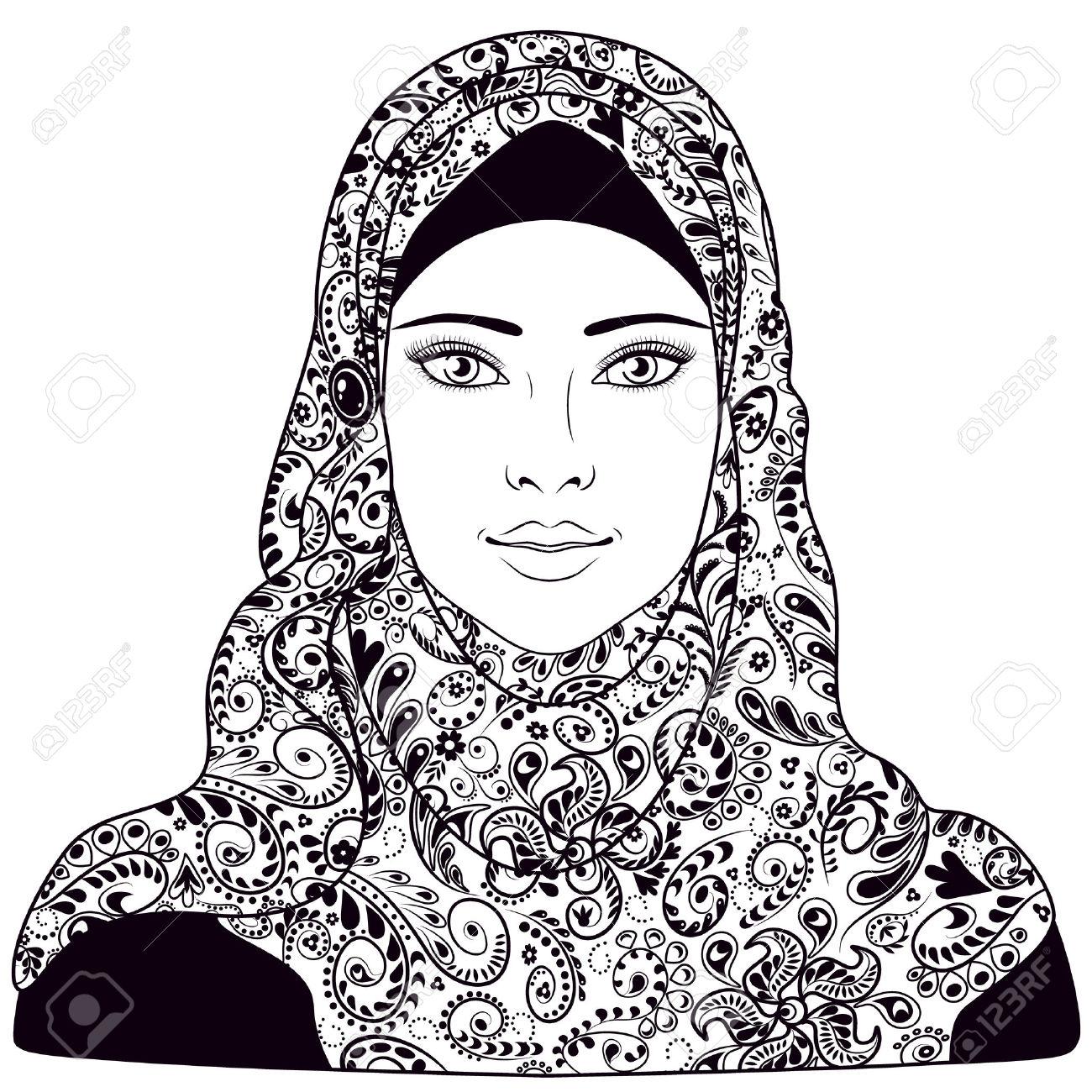 1300x1300 Sketch Of Muslim Girls Face Muslim Girl Dressed In Hijab. Black