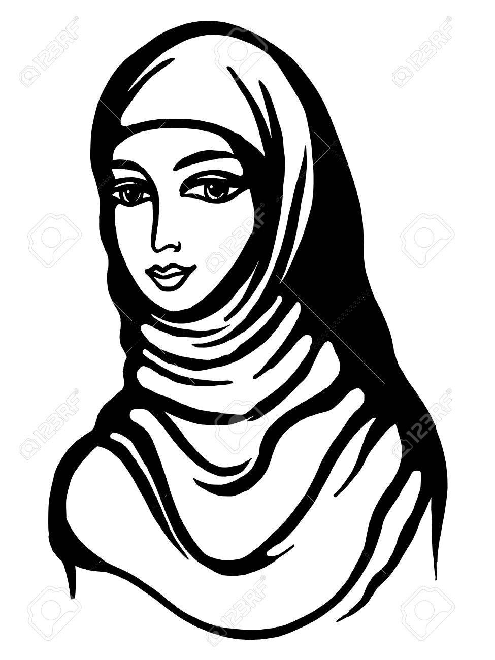 975x1300 Hand Drawn, Cartoon, Sketch Illustration Of Muslim Girl Royalty