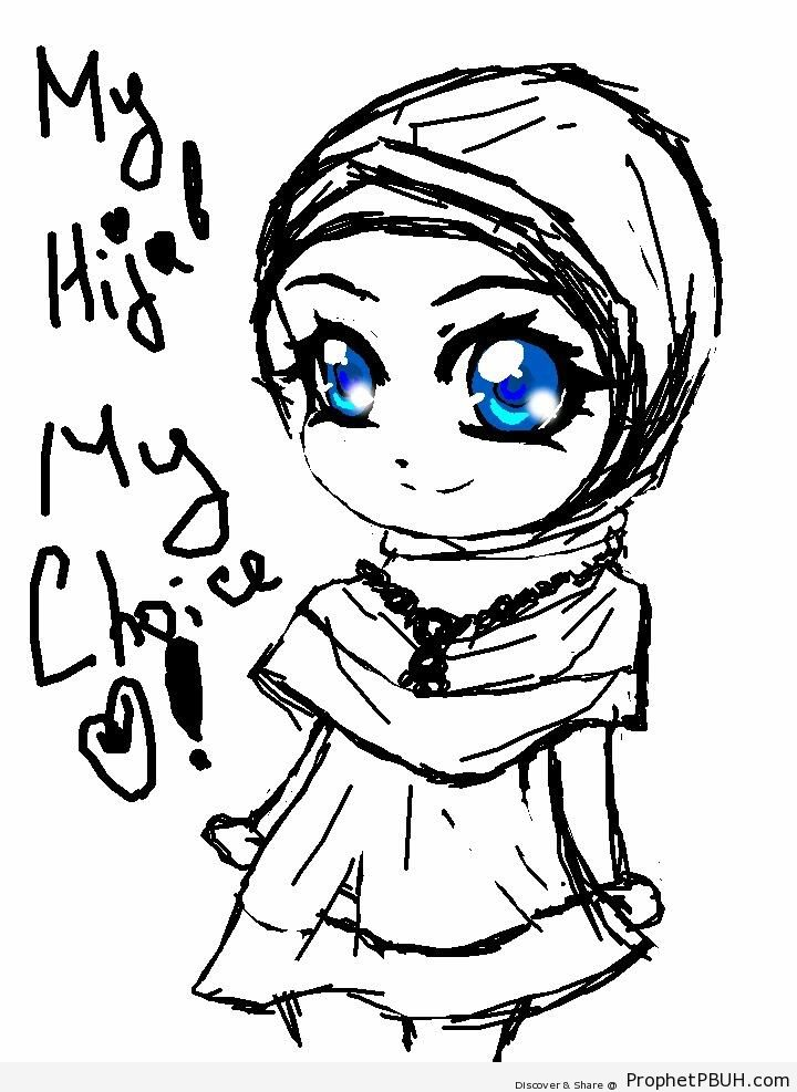 720x987 Hijab Poster With Cute Muslim Woman Drawing Drawings Prophet