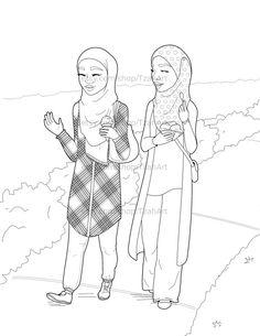 236x305 Muslim Hijabi Coloring Book Page Download