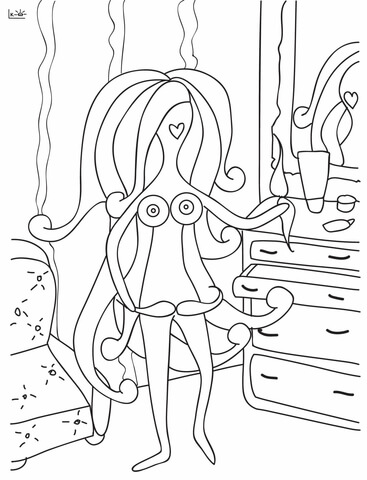 367x480 Lady With Mustache Coloring Page Free Printable Pages
