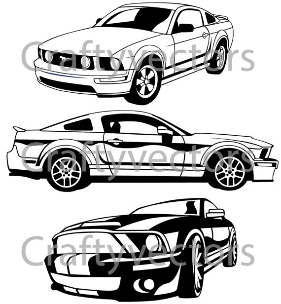 570x616 Ford Mustang Vector Svg Cut File