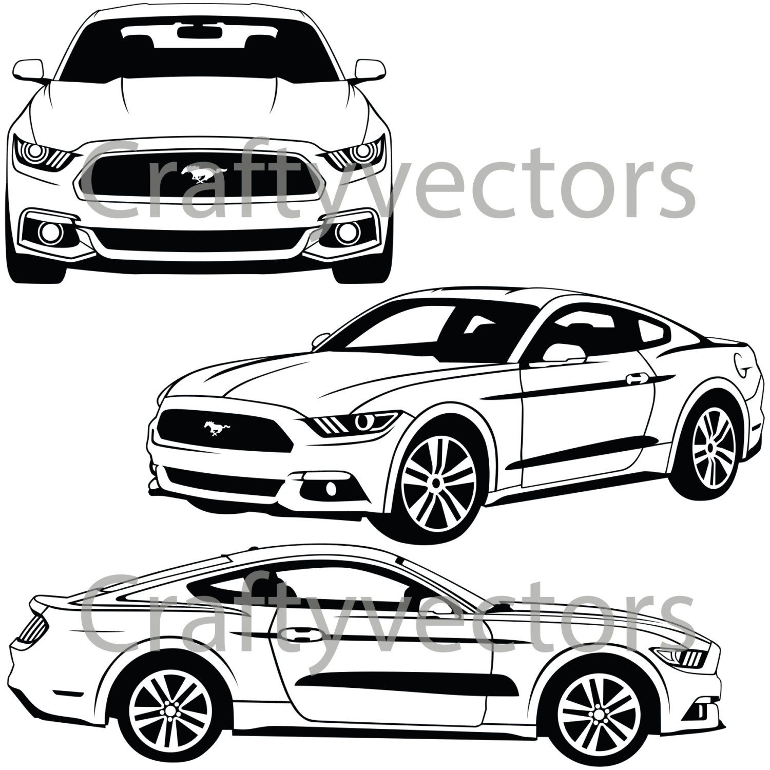 1500x1500 Ford Mustang 2015 Vector Svg Cut File