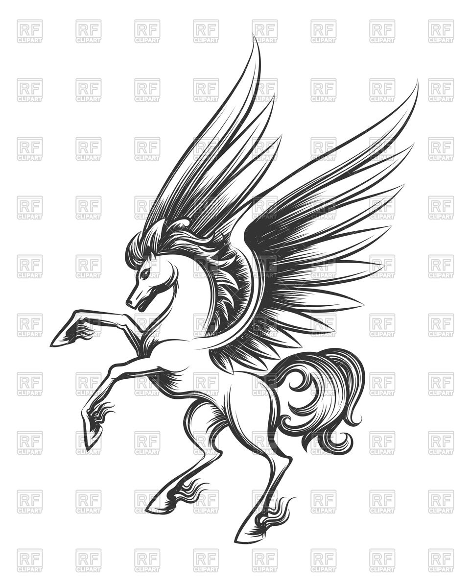 960x1200 Winged Horse Engraving. Hand Drawn Pegasus Or Flying Mustang