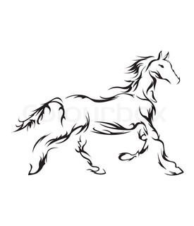 275x320 Beautiful Wild Horse Sketch Icon. Head And Shoulders Portrait