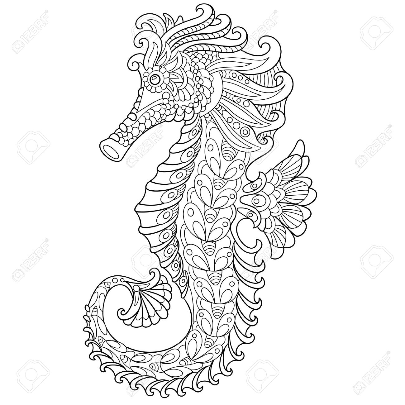1300x1300 Cartoon Seahorse, Isolated On White Background. Hand Drawn Sketch