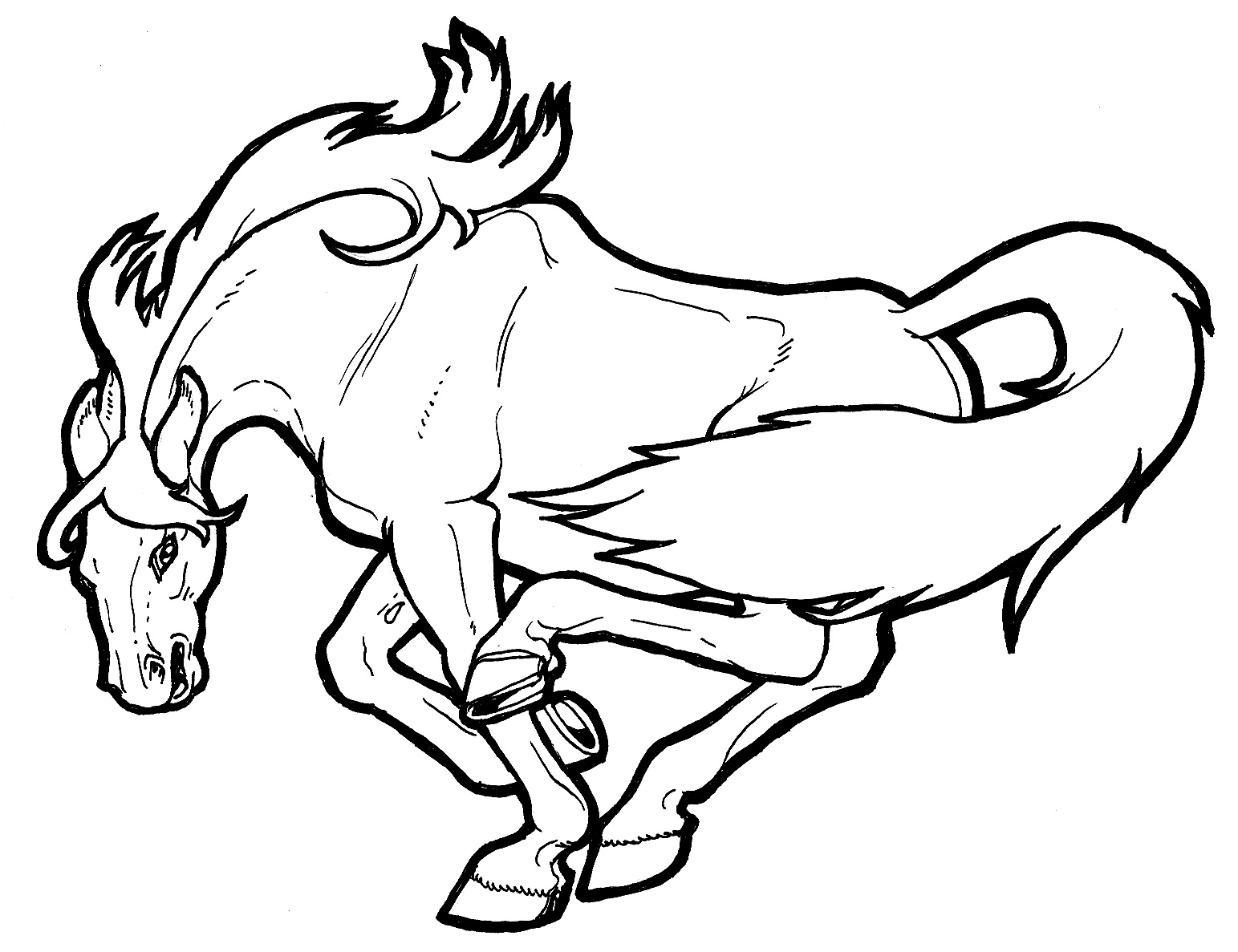how to draw a mustang horse easy