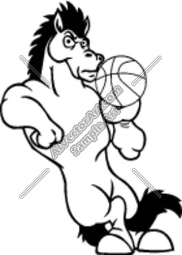 358x500 Mustang Horse With Basketball Clipart And Vectorart Sports