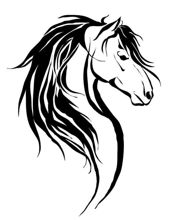 600x746 Collection Of Mustang Stallion Horse Tribal Tattoo Vector Image