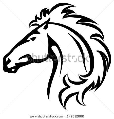 450x467 Vector Illustration Of A Wild Horse Head