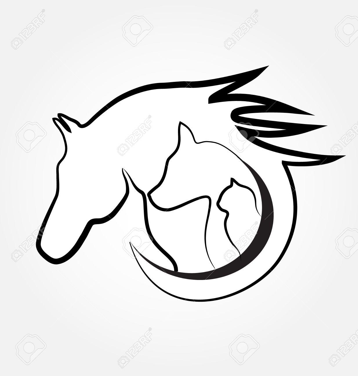 1235x1300 Horse Cat And Dog Identity Card Business Stylized Design Logo