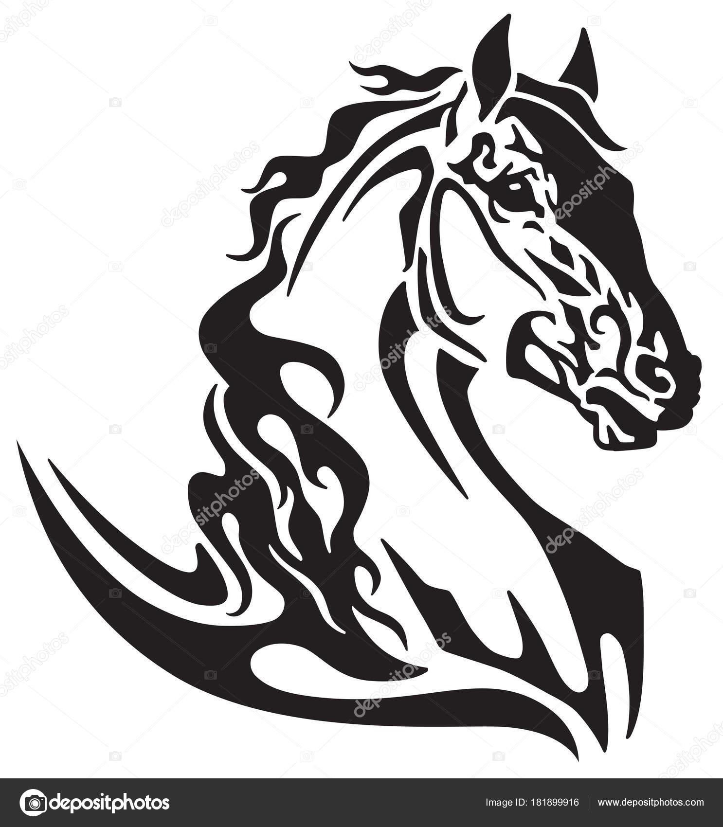 1486x1700 Horse Head Tribal Tattoo Logo Icon Flaming Mustang Black White