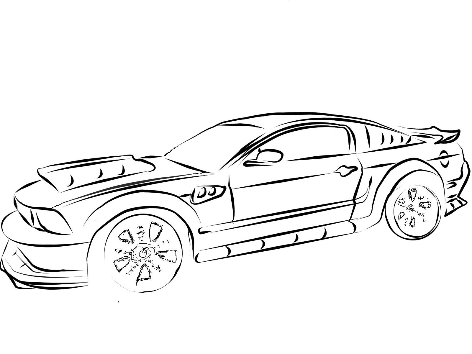 1600x1200 Mustang Coloring Page