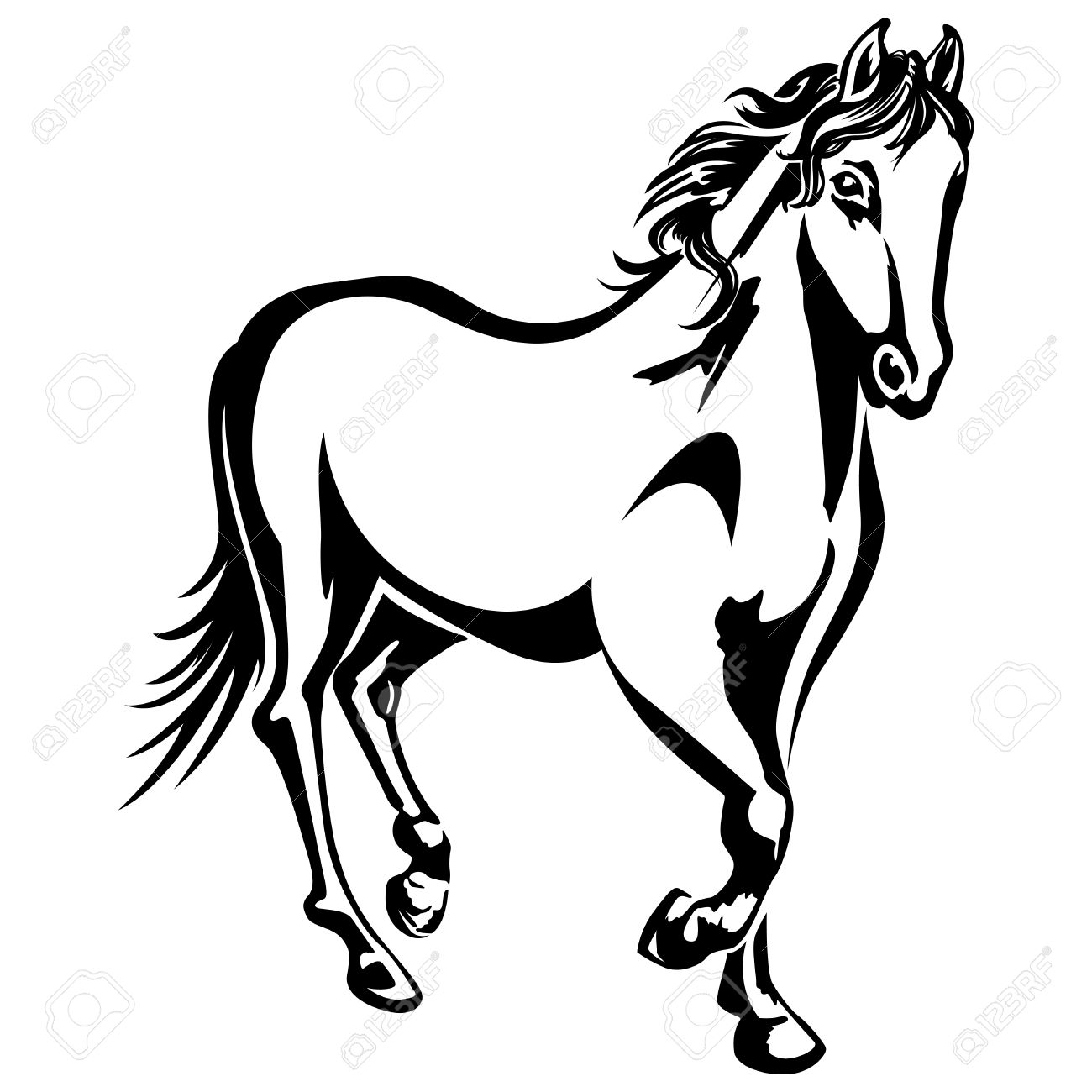 1300x1300 The Horse Is Running Black And White Drawing Silhouette Royalty