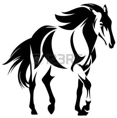 446x450 Wild Horse Black And White Outline