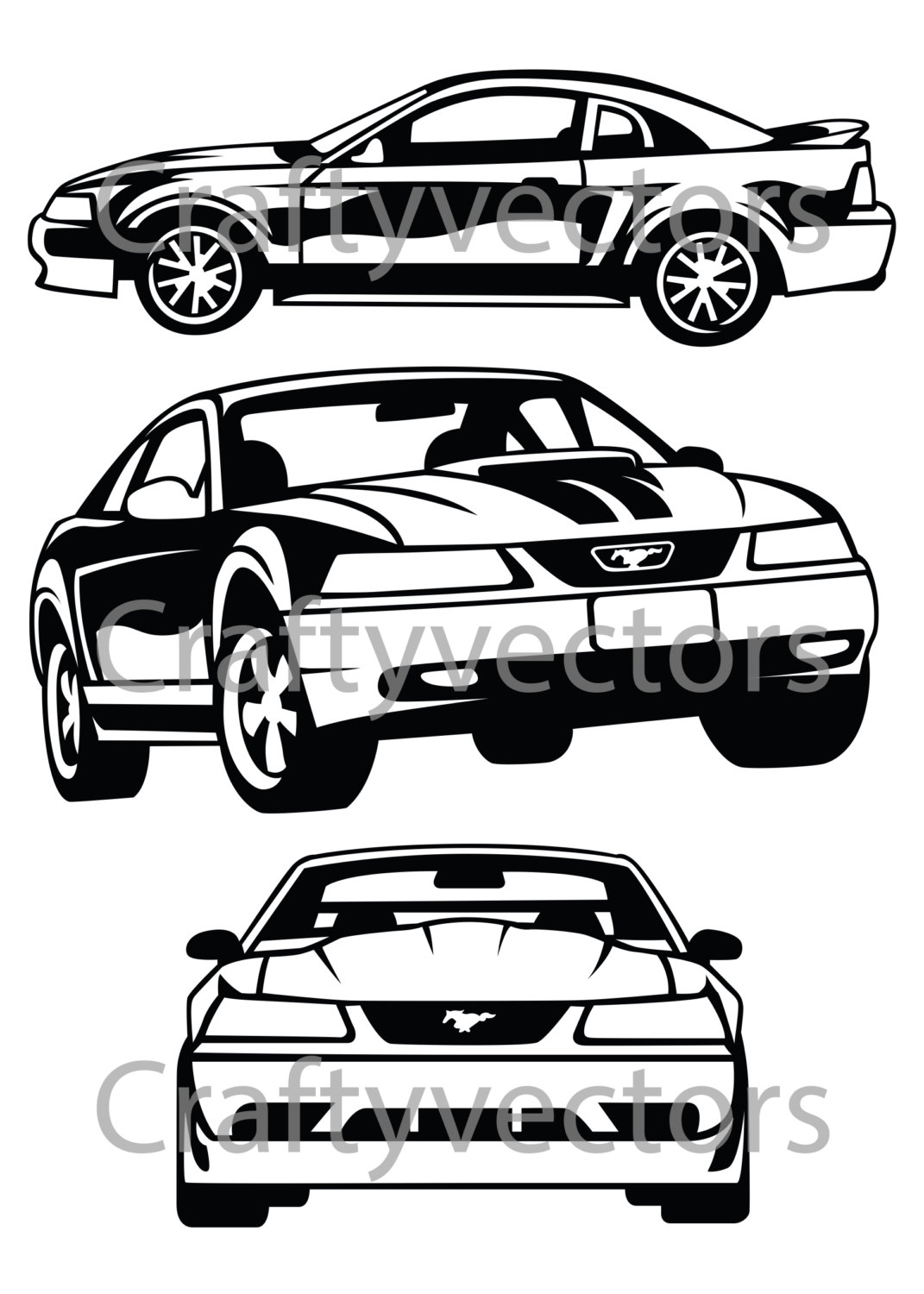 1071x1500 Ford Mustang 99 Vector File