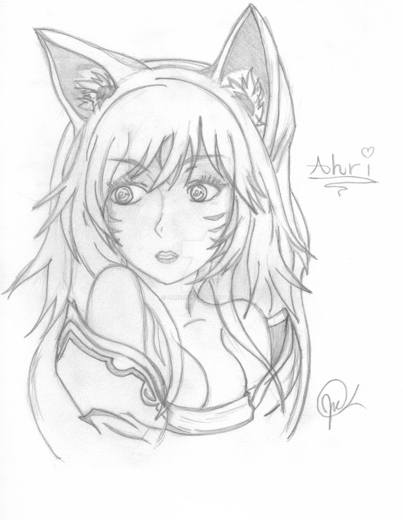 786x1015 Ahri Drawing (My Style) By Zarems