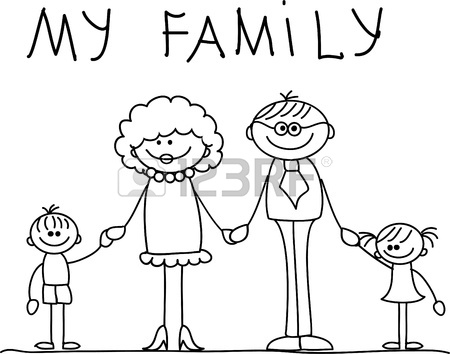450x354 Image Of Happy Family With House. Kids Drawing I Love My Family
