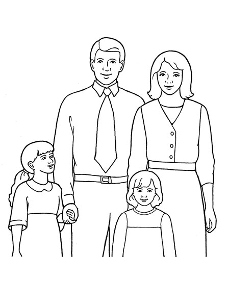 447x596 A Line Drawing Of A Family Of Four, From The Nursery Manual Behold