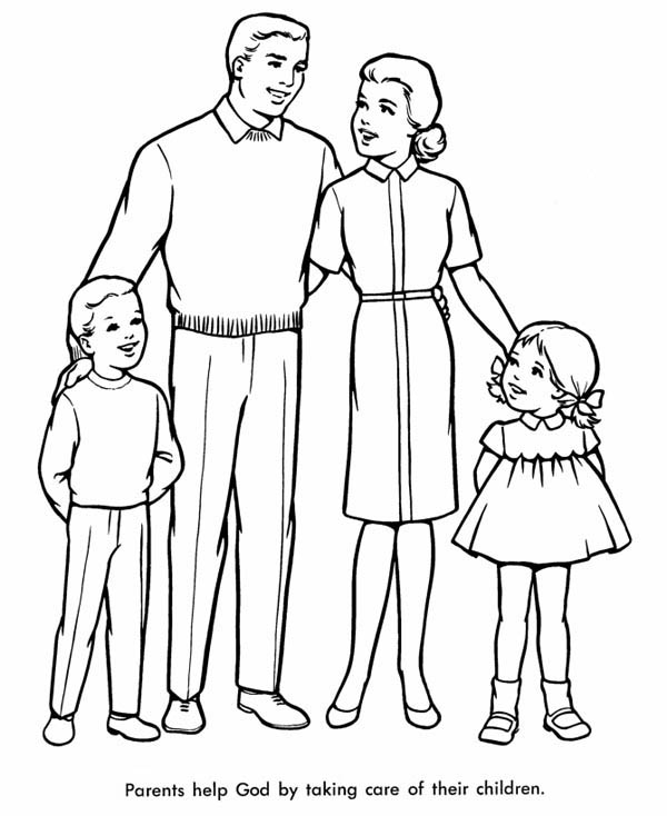 600x734 Perfect Family Coloring Page Perfect Family Coloring Page