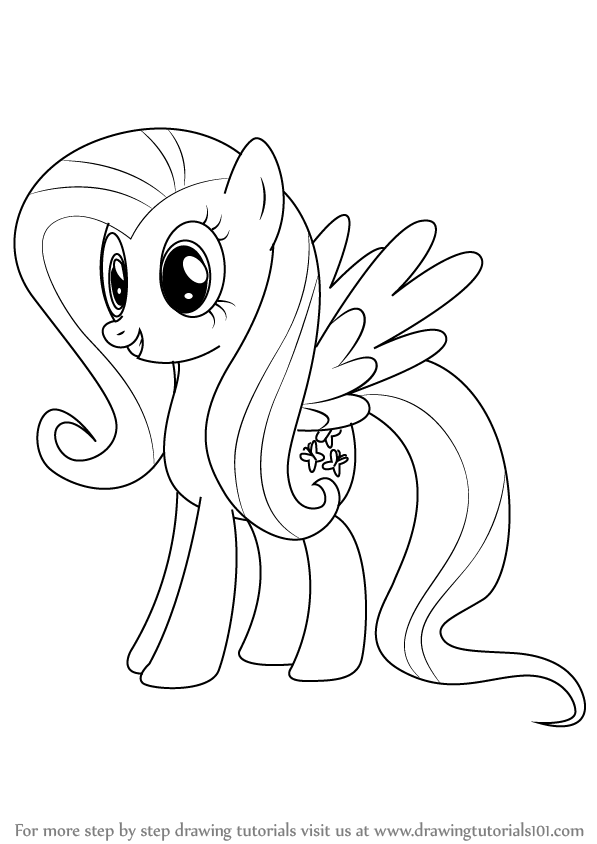597x844 Learn How To Draw Fluttershy From My Little Pony Friendship Is
