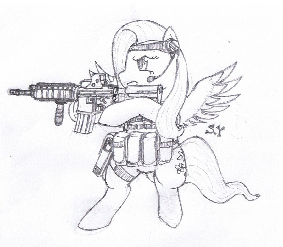 900x785 My Little Pony Commando Is Magic Fluttershy By Miniyippo