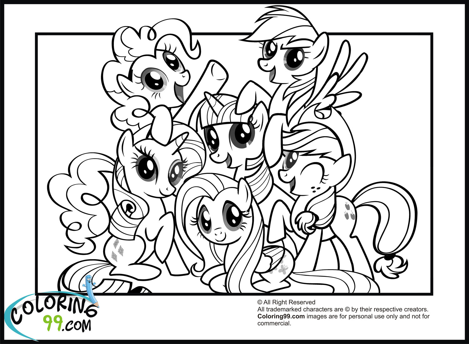 1500x1100 My Little Pony Coloring Pages Friendship Is Magic Team colors