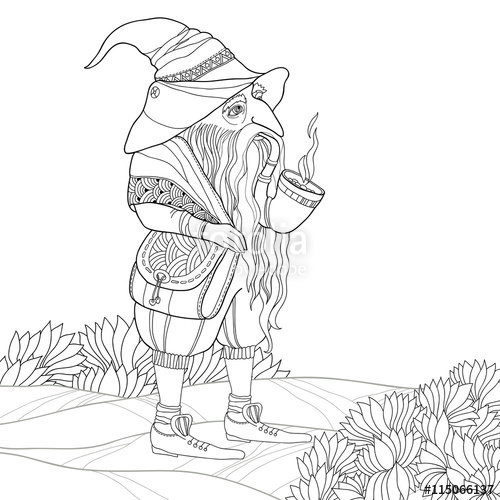 500x500 Vector Mythological Line Drawing Gnome Or Dwarf With Tobacco Pipe