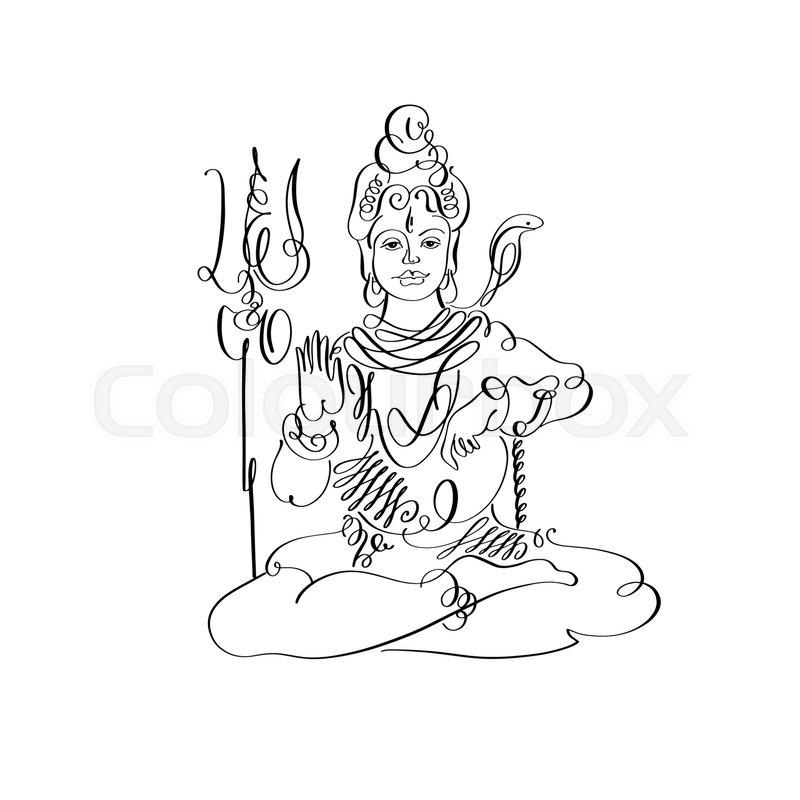 800x800 Lord Shiva Black And White Calligraphic Drawing To Maha Shivaratri