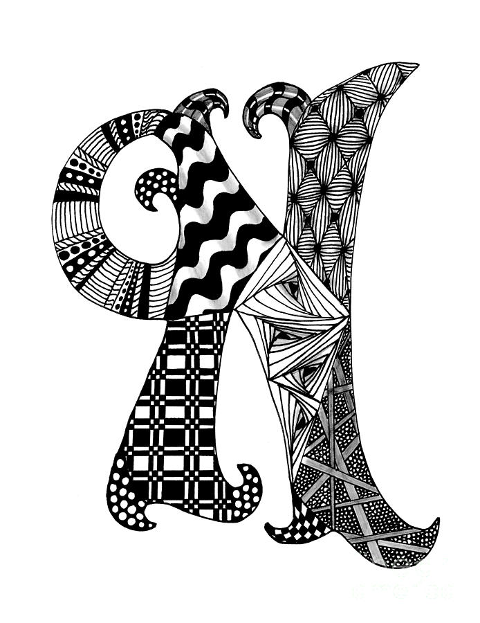 694x900 Zentangle Letter N Monogram In Black And White Drawing Zentangle