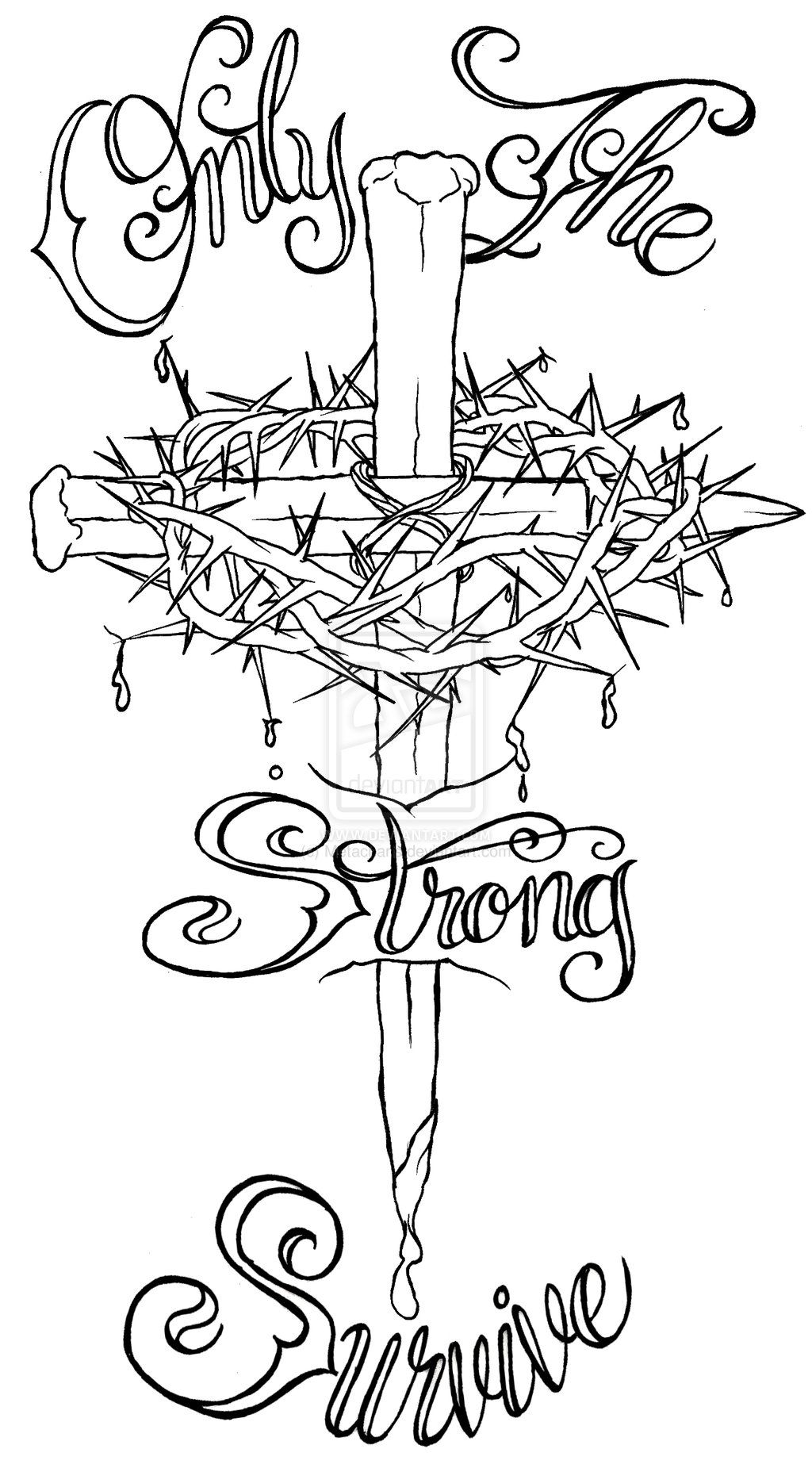 1024x1851 Nail Cross With Crown Of Thorns Tattoo By Metacharis.
