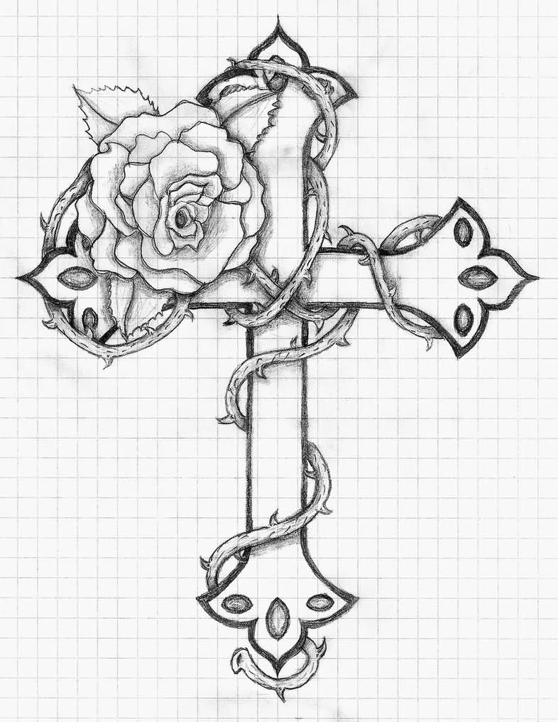 786x1016 Rose And Cross Tattoo Design