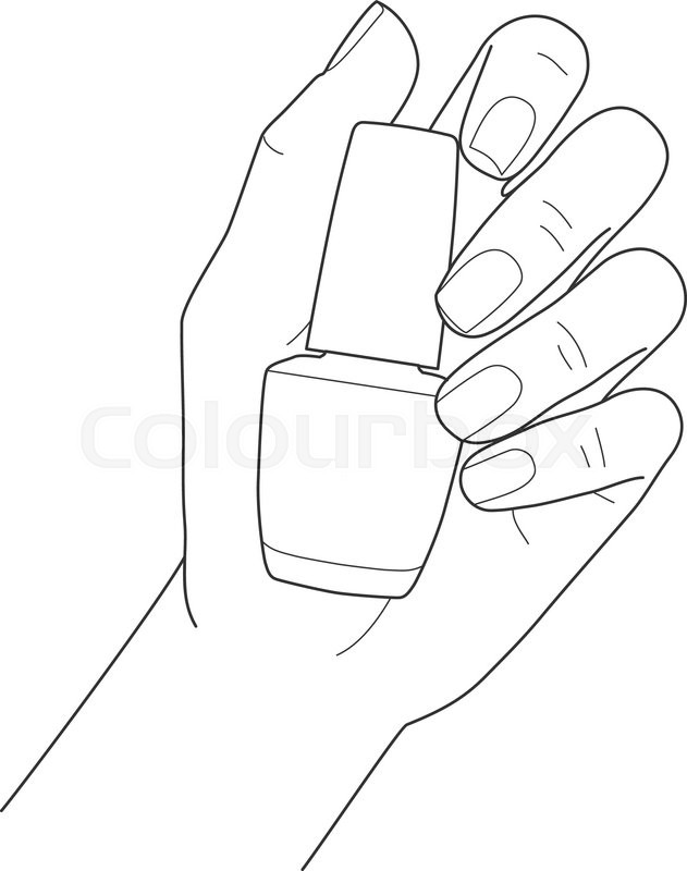 631x800 Female Hand With Manicure Holding Nail Polish Vector Image