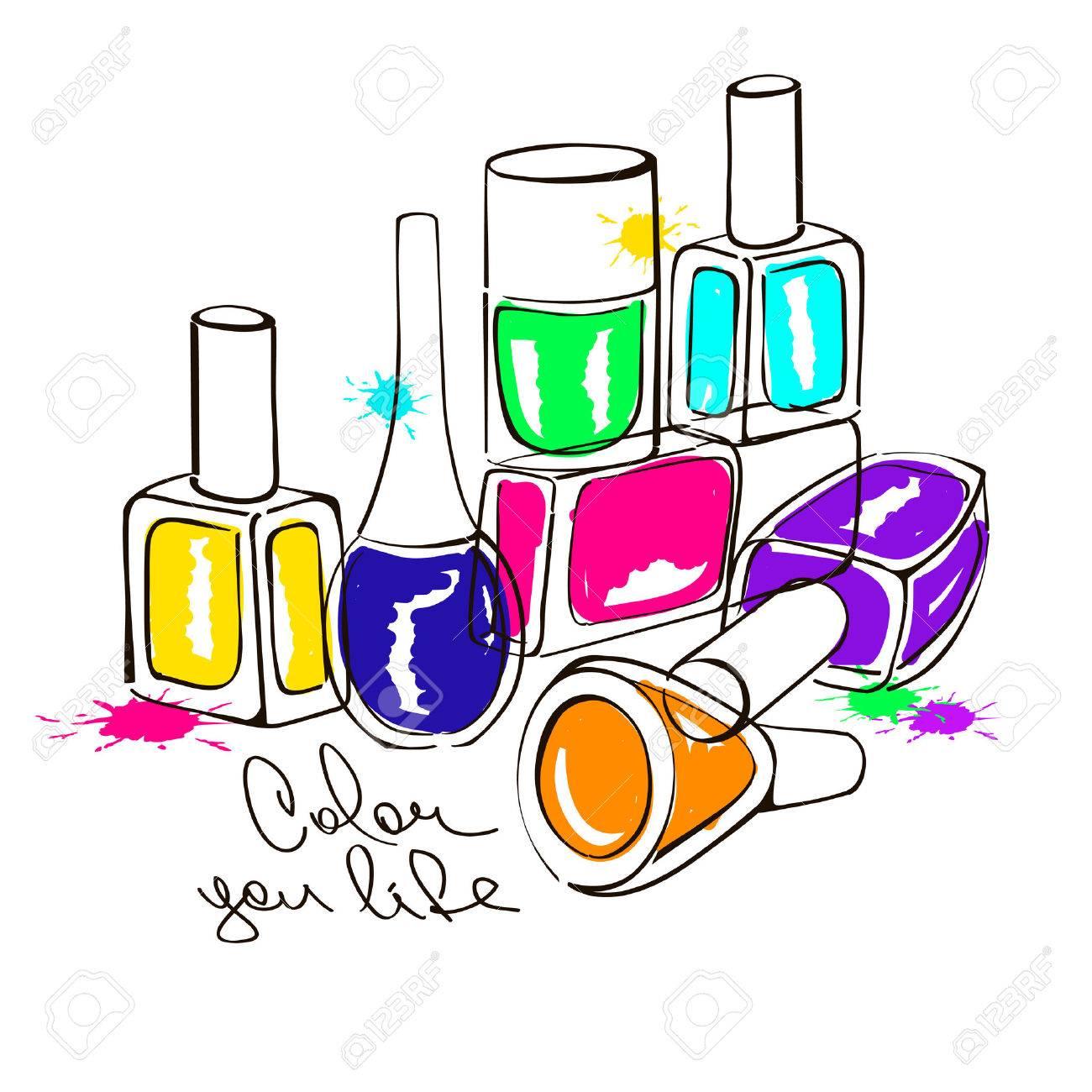 1300x1300 Hand Drawn Illustration With Colorful Nail Polish Bottles Royalty