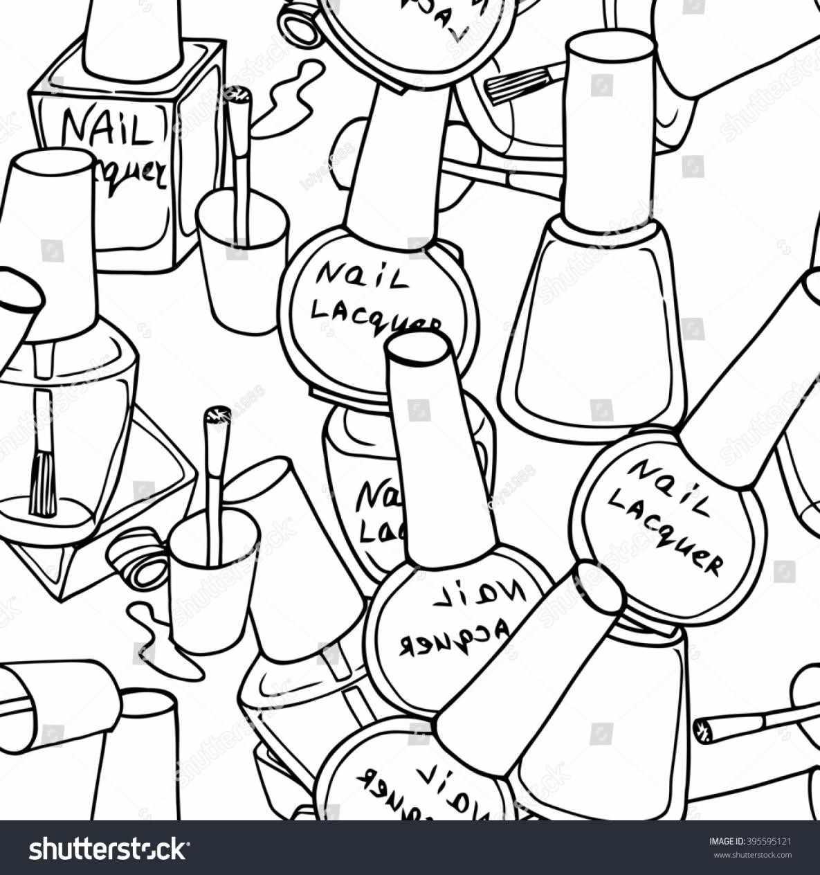 1185x1264 Icon Thin Line Stock Nail Nail Polish Bottle Black And White
