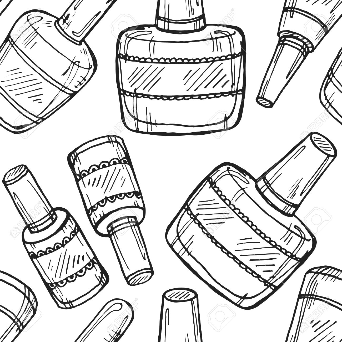1300x1300 Seamless Pattern With Cute Hand Drawn Collection Of Nail Polish