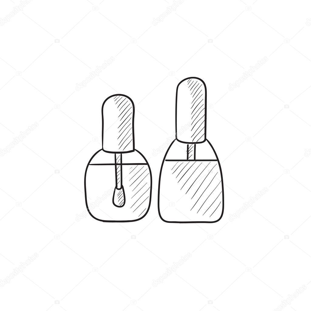 1024x1024 Bottles Of Nail Polish Sketch Icon. Stock Vector Rastudio