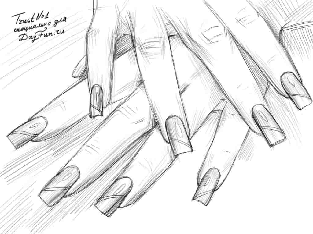 1024x768 How To Draw Nails Step By Step