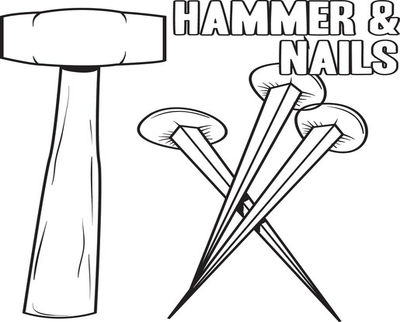 400x322 Nail And Hammer Coloring Page Image Clipart Images