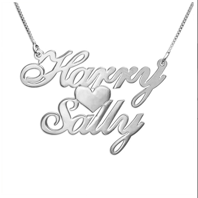640x640 Custom Two Name Love Necklace Personalized Silver Carrie Style