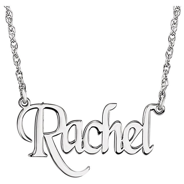 640x640 Personalized 14k White Gold Block Nameplate Pendant Necklace