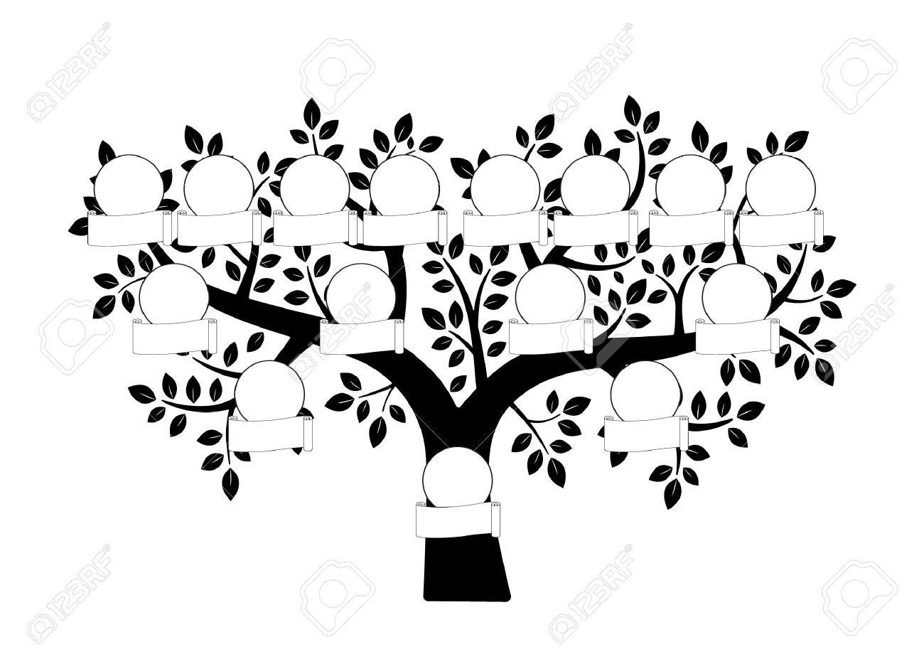 1300x920 Family Tree And Nameplate. Vector Black Illustration On The White