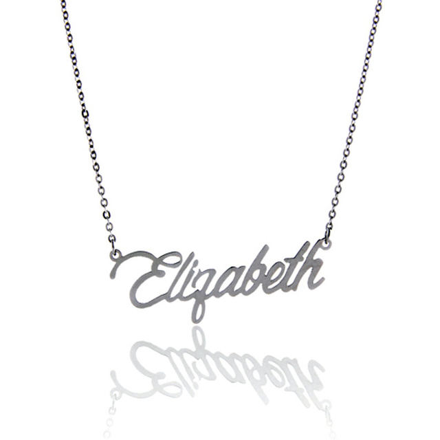 640x640 Online Shop Aoloshow Name Necklace Letter Elizabeth Gold Color