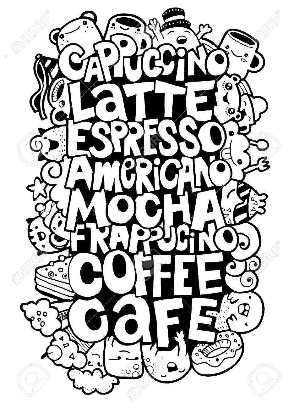 936x1300 Hand Drawing Names Of Popular Coffee Drinks With Cute Monsters