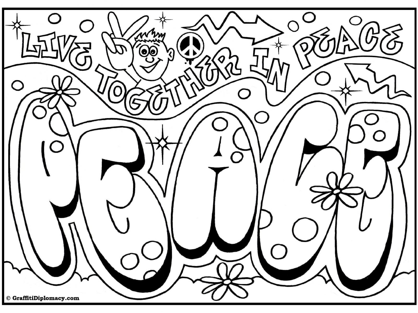 1600x1200 Coloring Graffiti Coloring Pages For Adults To Print Free Adult