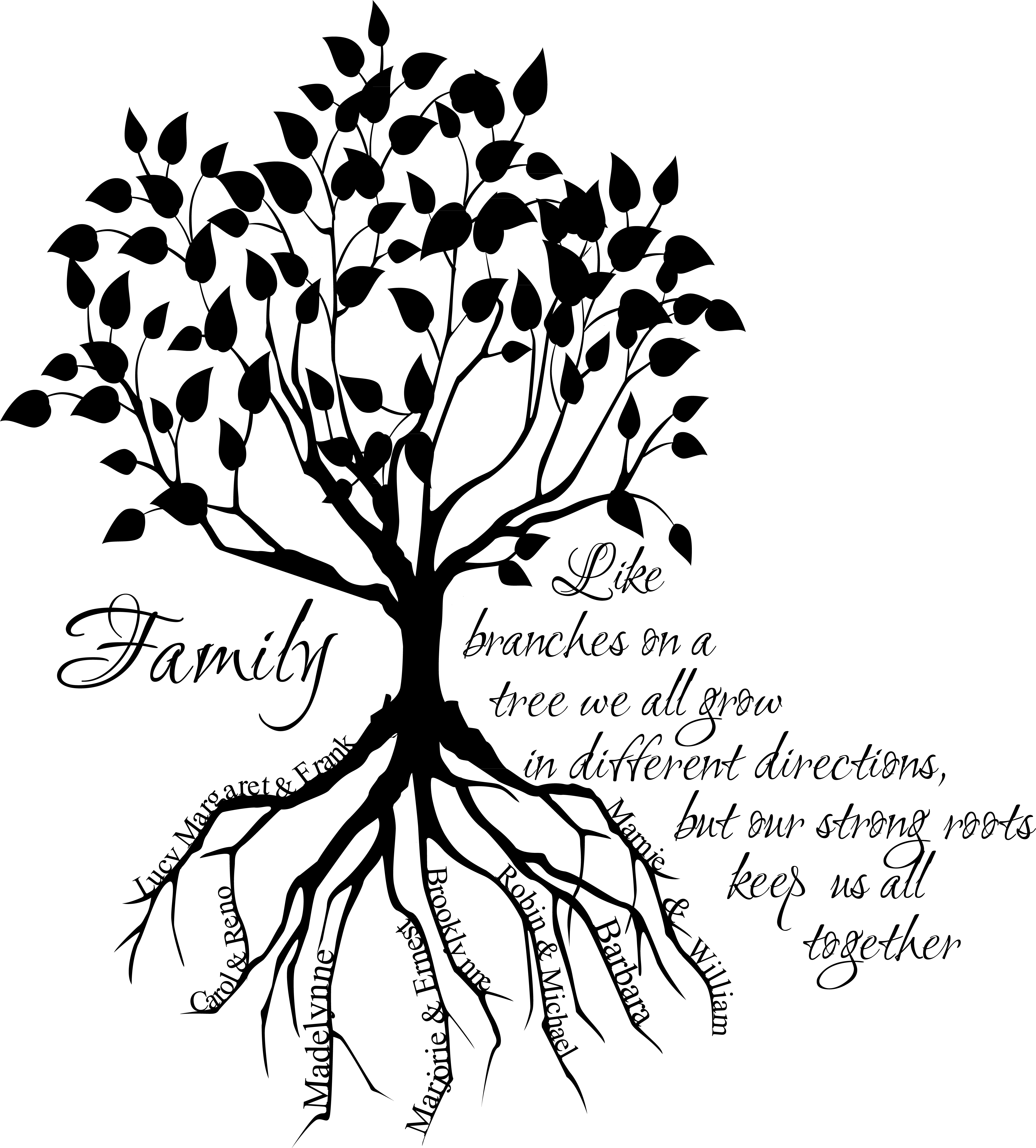 4681x5185 Simple Family Tree Drawing Family Tree Root Names Giant Wall Decal
