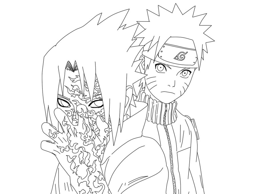 900x680 Naruto And Sasuke With Curse Mark Lineart By Xrainingxcolourx